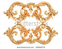 3d gold ornament form woodcarving stock illustration 66161002