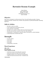 Sample Resume Objectives Fast Food Restaurants by Simple Objective Resume Sample For Bartender Bartender Resume