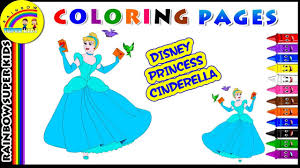 disney princess cinderella coloring page learn colors for kids