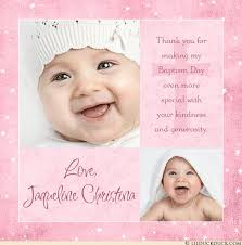 baptism thank you card two photo pink baby