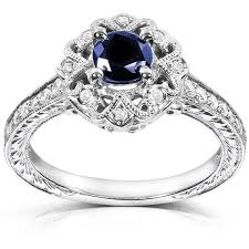 annello by kobelli 14k white gold cut blue sapphire and - Overstock Engagement Rings