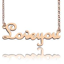 Rose Gold Name Necklace Solid Rose Gold French Font I Love You Name Necklace
