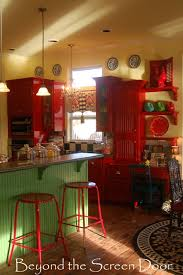 green and red kitchen ideas elizabeth s red kitchen and curtain makeover beyond the screen