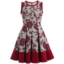 thanksgiving dresses for girls monnalisa grey u0026 red rose neoprene dress at childrensalon com