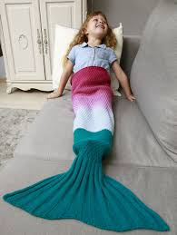 ombre chunky crochet knit mermaid blanket throw for kids deep