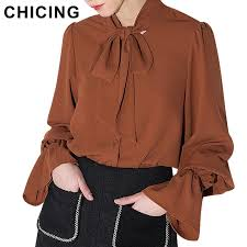 brown blouse chicing bow tie lantern sleeves brown blouse 2017 fashion
