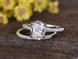 bridal sets 1 5 carat oval moissanite wedding sets 14k white gold diamond