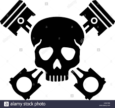 skull with crossed pistons stock vector illustration vector