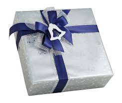 silver shiny gift box paper wrap blue ribbon bow bell decoration