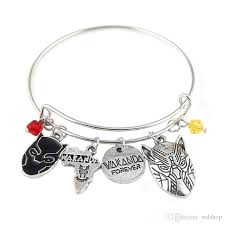 bracelet with charm images Silver tone black panther charm bracelet with life tree africa map jpg