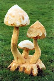 wooden toadstool trio and plinth garden sculpture buy wooden