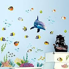 Wall Stickers For Kids Rooms by Amazon Com Under The Sea Decorative Peel And Stick Wall Art