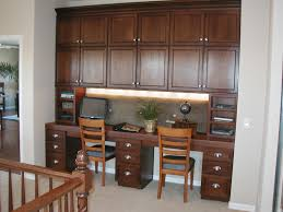 furniture brown varnished oak wood long desk with tall bookcase