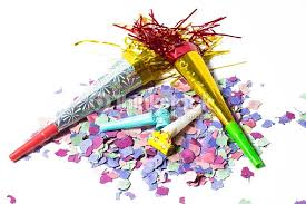 new year items items for party birthday or new year on white background stock