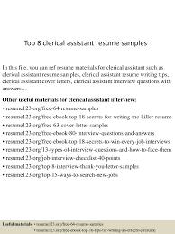 clerical sample resume top8clericalassistantresumesamples 150424212317 conversion gate02 thumbnail 4 jpg cb 1429928646
