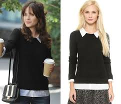 black sweater with white collar dress like jess s black sweater with white collar and