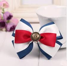 white and blue bows hot sale box packing ribbon bow with elastic loopbox packing