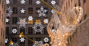 saks fifth avenue lights new york city manhattan rockefeller center christmas decorations and