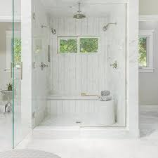 Shower Designs With Bench Walk In Shower With Curved Marble Shower Bench Transitional