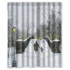 Winter Shower Curtains Rudolph The Nosed Reindeer Silhouette Shower