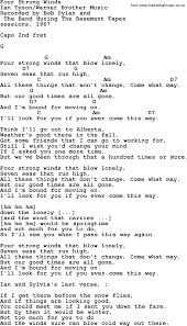 bob dylan song four strong winds lyrics and chords