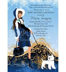 winter elegance baby shower invitation blue mommy to be