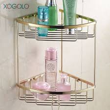 xogolo modern wall shelf gold color solid brass shower basket