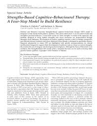 strengths based cognitive behavioural therapy a four step model