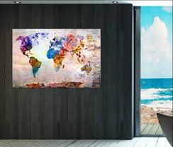 Large Framed World Map by Colorful World Map Wall Art Print On Canvas Large Colorful World