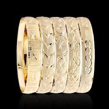10mm diamond diamond cut gold layered bangle bracelets 10mm half a dozen