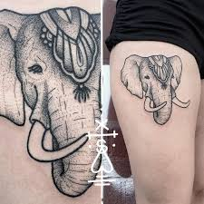 circus elephant tattoo on thigh best tattoo ideas gallery