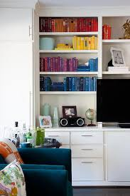 Colorful Bookcases Living Room Built In Cabinets Design Ideas