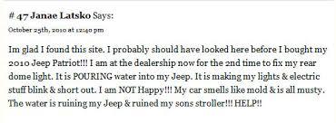 jeep wrangler water leak jeep water leaks problems with jeeps lemon