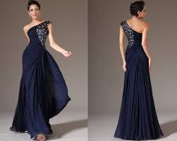 custom made new dark blue one shoulder formal dress prom dress