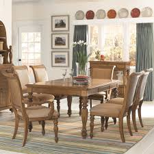 Beachy Dining Room Sets 7 Piece Rectangular Turned Carved Leg Dining Table With Two 20