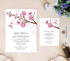 printed wedding invitations printed wedding invitation and info card bundle pink cherry