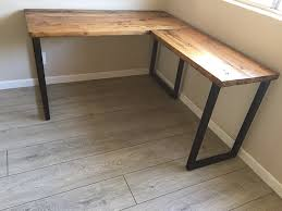 Wood L Shaped Desk Enthralling L Desk Corner Reclaimed Wood Steel Pipe Base