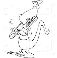 vector of cartoon lizard playing a trombone coloring page