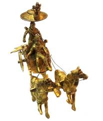 aakrati yellow horse cart arjun rath made of brass metal for home