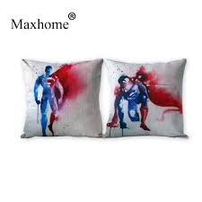 superman home decor watercolor marvel characters cotton linen pillowcase forever
