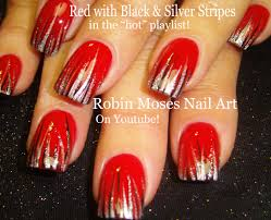robin moses nail art red nails with black and gold stripes fall