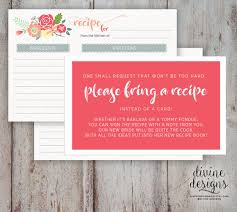 what do you put on a bridal shower registry recipe card bridal shower bring a recipe