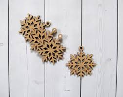 set of 27 wooden snowflakes wood christmas ornaments wood