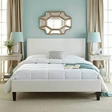 Faux Bed Frame Premier Zurich Faux Leather White Upholstered Platform Bed