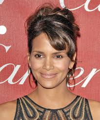 back view of halle berry hair halle berry curly formal updo hairstyle with side swept bangs