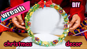 Decoration Material For Christmas by How To Make Wreath From Waste Material Diy Christmas Room