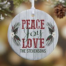 personalized peace rustic ornament gifts