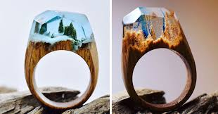 wood rings com images These wooden rings contain tiny worlds jpg