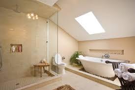 modern stylish long bathtub and floating vanity with rectangular
