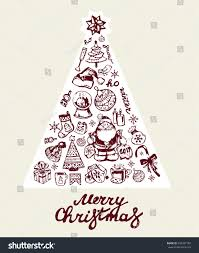 hand drawn doodle beautiful christmas tree stock vector 534307183
